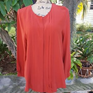 Joie pleated front silk long sleeved blouse